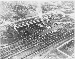 Aerial view of Spencer Shops in its heyday