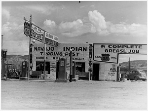 Navajo Indian Trading Post at the Great Divide filling Station, New Mexico, about 1940