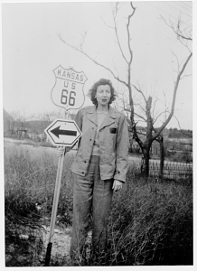 Caroline Millbank with Route 66 sign, Kansas