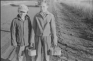 Waiting for the bus, Nebraska, 1938