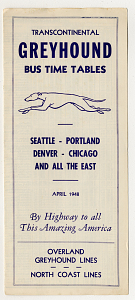 Greyhound bus schedule, 1948