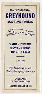 Greyhound bus schedule, 1948