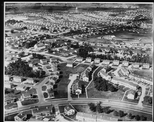 Aerial view of Park Forest, Illinois, 1952