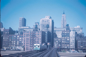 View from the west of Chicago's Loop and L, 1952