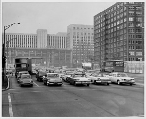 Traffic at Congress and Wells, in Chicago's Loop, October 16, 1960, 8:15 a.m.