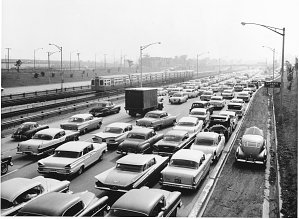Mural: Traffic jam on the Congress Expressway, Chicago, June 24, 1959, 6:55 p.m.