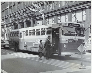Bus 8241 in front of Marshall Field's Department store, State Street side, 1959