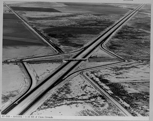 Interstate 10 southeast of Casa Grande, Arizona, 1967