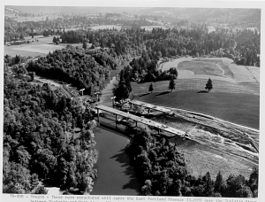 Construction of East Portland Freeway (I-205) bridges over Tualatin River, Oregon, 1970