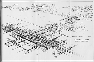 Proposed Design for Papago Freeway (I-10) interchange, Phoenix, 1968