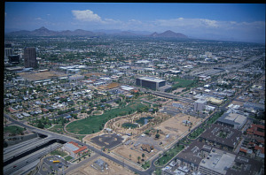Papago Freeway (I-10) as built, Phoenix, 1991