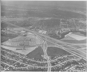 Gulfgate Shopping Center and residential development along I-45, Houston, Texas, about 1960