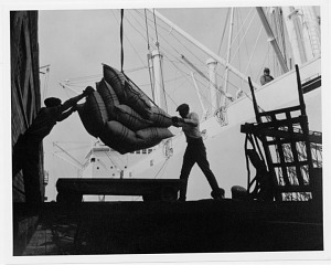 Two dock workers unloading a slingload of cargo