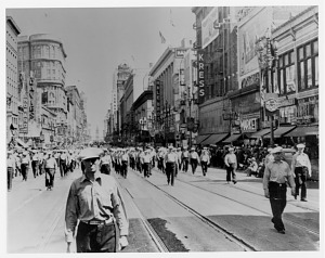 Harry Bridges leading longshoremen in a Labor Day parade, San Francisco, 1939