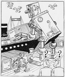 Cartoon of a robot loading a ship