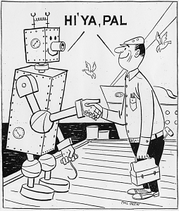 Cartoon of robot longshoreman