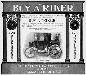 Ad for the Riker Electric Automobile, 1900