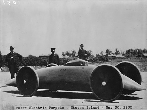 In 1902, electric car manufacturer Walter Baker drove his one-off, streamlined electric Torpedo in a Memorial Day race on Staten Island