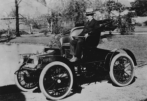 Walter C. Baker in one of his production electric cars