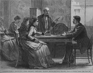 "Working Women's Protective Union — Hearing Complaint Against Sewing-Machine Dealer,"" Harper's Weekly, February 21, 1874"