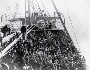 Immigrants on Atlantic liner, around 1906