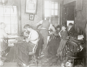 Sweatshop in Ludlow Street tenement, New York City, around 1889