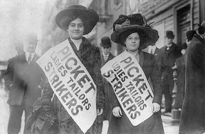 Seamstresses on a picket line, New York City, 1910
