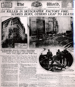 Front page of The World, New York City, March 26, 1911