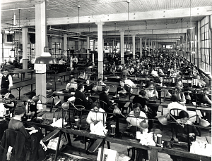 Apparel factory reflecting ideal working conditions, late 1930s