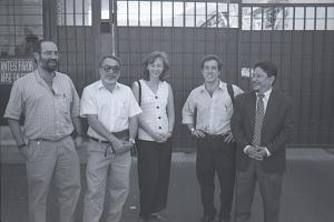GMIES at gates to San Marcos free trade zone, El Salvador, 1998