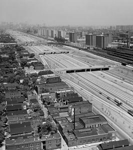 Aerial view of Dan Ryan Expressway, 1964