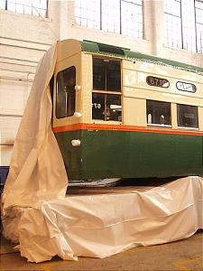 Shrink-wrapping CTA car 6719, 2002