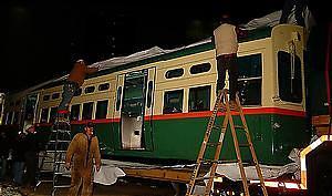 Unwrapping CTA transit car 6719, January 7, 2003