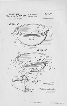 Patent drawing for bowl and cover, 1957