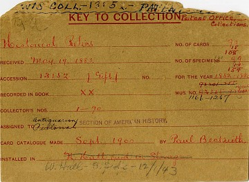Catalog card recording the transfer of the government's historical artifacts to the United States National Museum, 1883–84