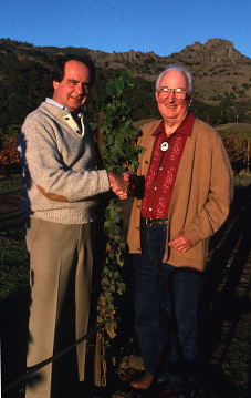 Warren Winiarski and Nathan Fay in the Fay vineyard, around 1986