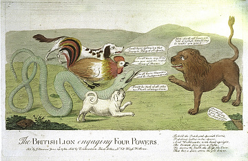 """""""The British Lion engaging Four Powers,"""" 1782"""