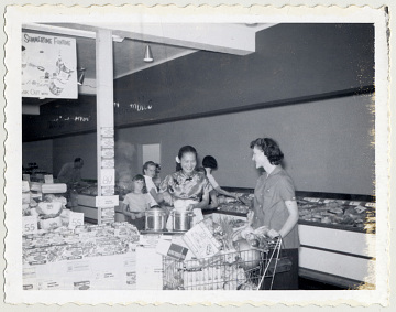 In-store promotion of Kubla Khan Frozen Food Company products, 1960