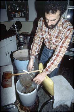Charlie Papazian brewing in Boulder, Colorado, 1983