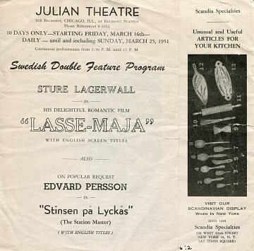 Reproduction of Julian Theater program, 1930s–1940s