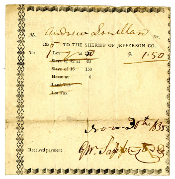 Andrew Souillan's tax receipt, November 1835