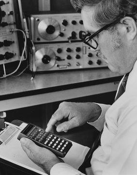 HP-35 calculator in use, around 1972