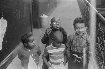 Children in a Mecca Flats hallway, 1949