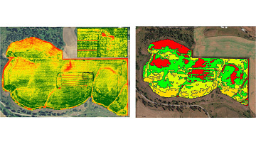 Blair uses maps like these to determine what areas need more fertilizer.