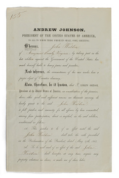 Presidential pardon granted to John Walden, 1865