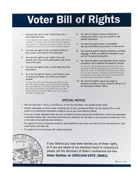 Poster, Voter Bill of Rights