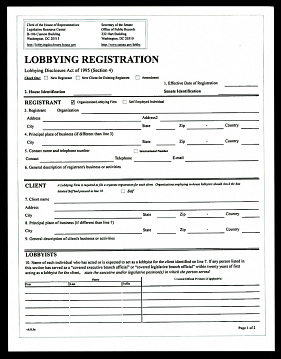 House of Representatives lobbying registration form