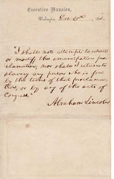 Note from Lincoln to Henry C. Wright, lecturing agent of the Massachusetts Anti-Slavery Society