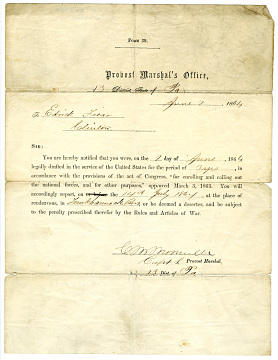 Civil War draft notice, April 7, 1864