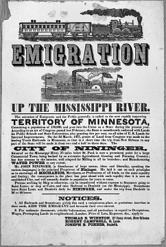 City of Nininger broadside, about 1857